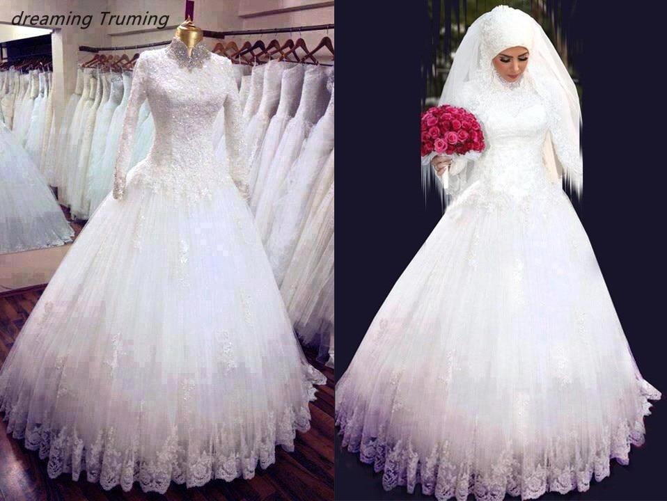 Saudi Arabia Muslim Wedding Dress Long Sleeves 2019 High