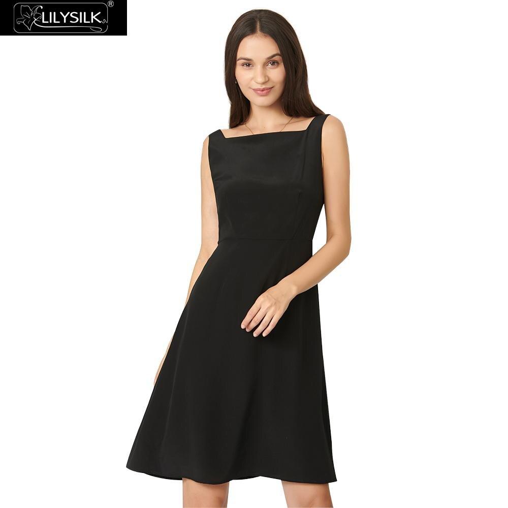 LilySilk 女性クラシックボートネック黒女性送料無料  グループ上の レディース衣服 からの ドレス の中 1