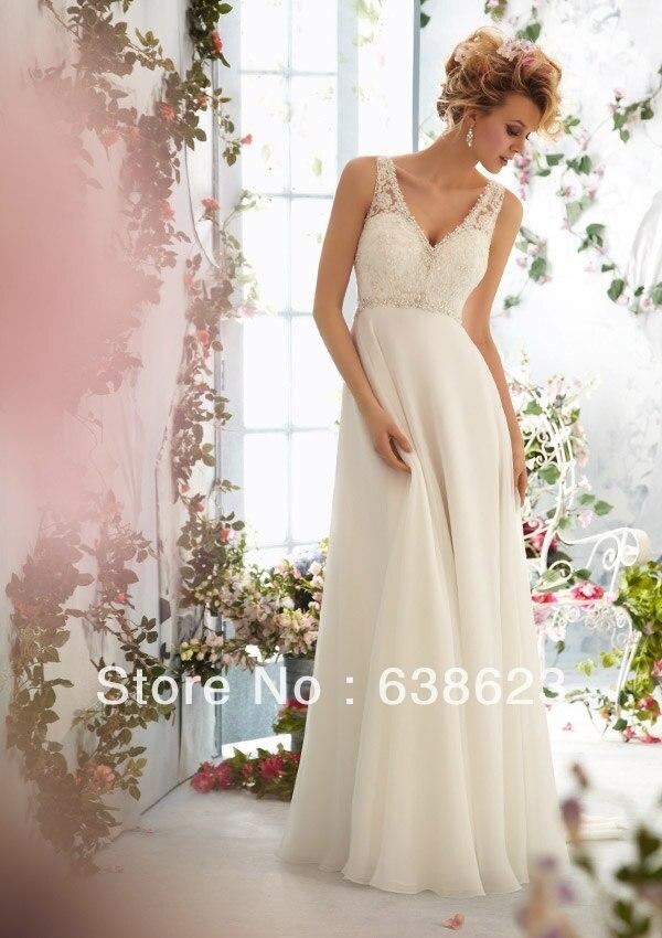 Awl093 Elegant Two Shoulder Beaded V Neck Low Back Wedding Dress In