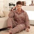 Homens conjuntos de pijama, Pijama de lã mais grossa, Dos homens bodysuit de manga comprida coral fleece sleepwear