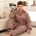 Men pajama sets,thicker fleece pajamas,men's bodysuit long-sleeve coral fleece sleepwear