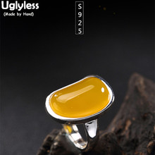 Uglyless S 925 Sterling Silver Natural Luxury Yellow Chalcedony Open Rings Women Big Gems Dress Finger Ring Fine Jewelry Bijoux
