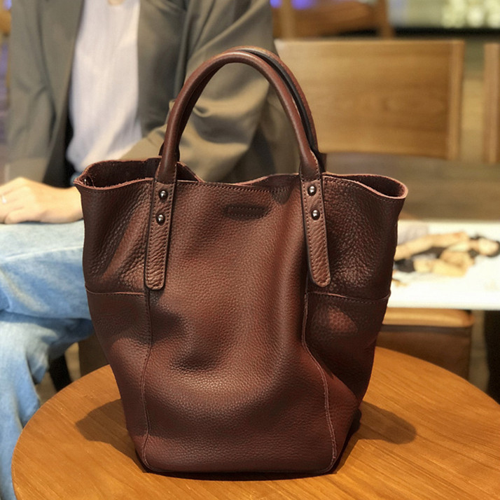 women vintage genuine leather bucket bag female retro soft real cow leather tote handbag lady causal crossbody messenger bag 2018 vintage genuine leather handbag crossbody shoulder bag for women fashion office lady totes female real 100% cow leather gg