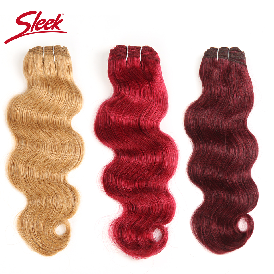 Sleek Brazilian Natural Body Wave Hair 1 Bundle Colored #27 #30 #99J #Burgundy Red Remy Human Hair Weave Extensions 10-22 Inches