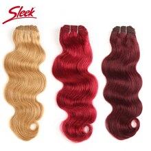 Sleek extensiones de cabello Natural brasileño ondulado, #27 #30 # 99J #, Borgoña, rojo, Remy, 10 22 pulgadas