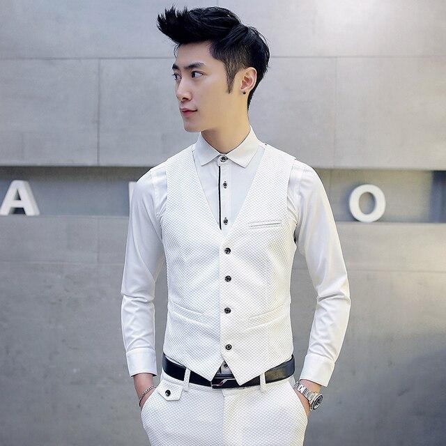 Мужской жилет V-образным Вырезом свадебное платье чистый белый Трикотажные тип деловых повседневная жилет плюс размер мужская одежда TZ39