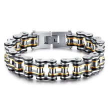 1 PC Stainless Steel Mens Bracelet Chain Shape Gear Multicolor Vacuum Plating Hip Hop  Fashion Jewelry