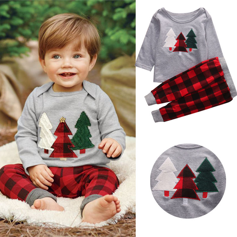 2016 Unisex Toddler Kids Baby Boy Girl Clothes Christmas Tree Top T shirt Plaid Pant 2pcs Outfit