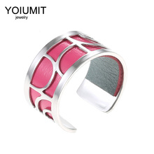 Cremo Argent Ring For Women bague femme acier inoxydable Stainless Steel Rings Color Interchangeable Leather Finger
