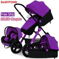 RU Бесплатная доставка! Низкая цена 3 в 1 детская коляска Золотая рамка Высокое качество Детские Коляски Четыре Колеса новорожденных