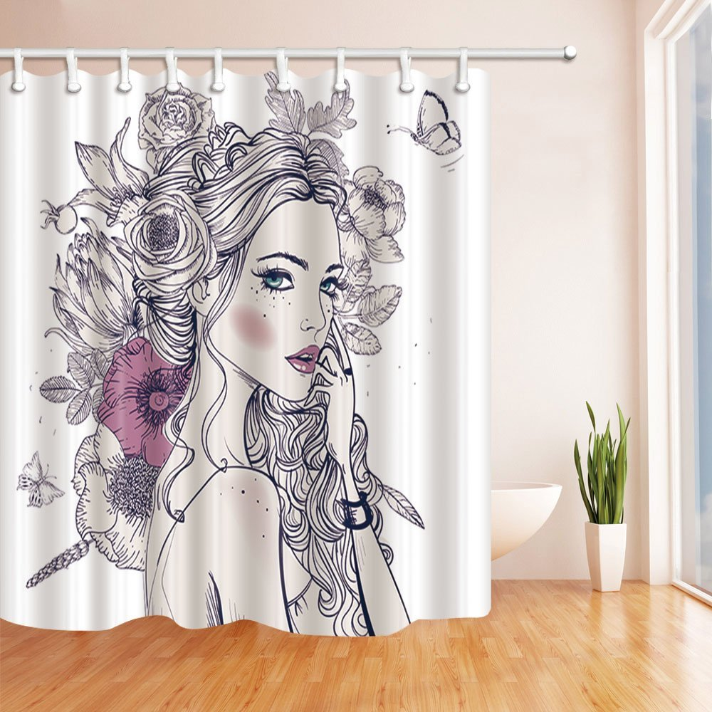 Stroke Sex Girl Full Wiith Flowers And Butterfly Shower Curtain Bath Curtains Hooks Included 69X70 Inches