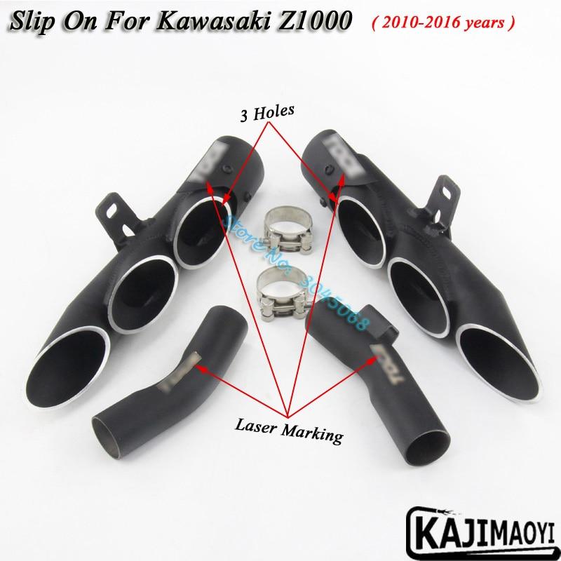 Slip On For Kawasaki Z1000 Motorcycle Exhaust Escape Muffler Motor Laser Makring Middle Tube Link Pipe 3 Holes 2010-2016
