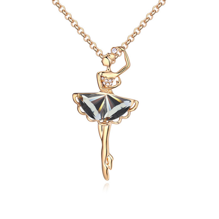 Fashion Glass Ballerina Figure Pendants Necklace Gold Color s
