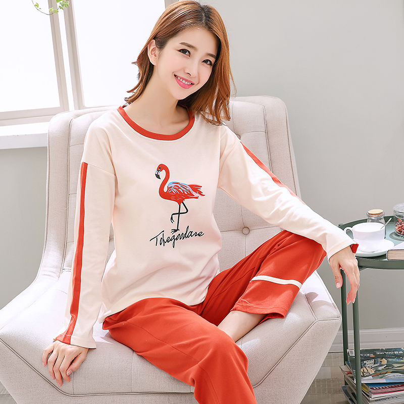 Cartoon   Pajamas     Set   Women Cotton Autumn Female Pyjamas Sexy Embroidery Female Long Pants Shirt 2 Piece/  Set   Stitch Lingerie Home