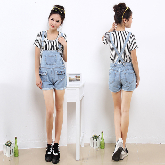 Vintage Straight Cuff Up Piping Pant Shorts Juniors Denim Jumpsuit