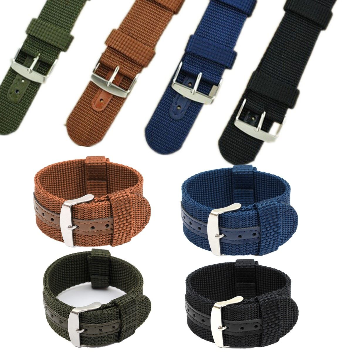 купить New Fashion Style 4 Colors Nylon Canvas Military Fabric Army Nylon Wrist WatchBand Watch Strap 18mm 20mm 22mm 24mm Hot Sale по цене 170.62 рублей