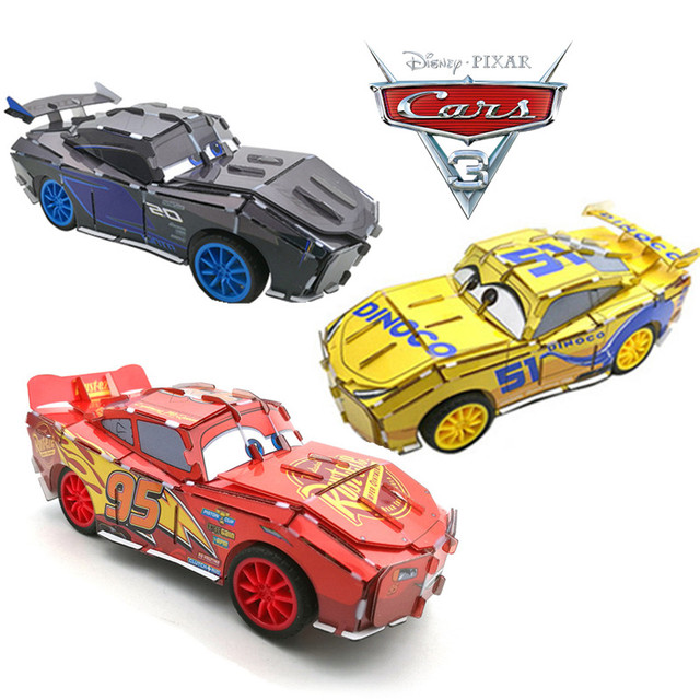 Disney Pixar 2017 New Educational Children Toys Pull Back Car Assembly 3D Puzzle Cars 3 for Kids Gifts Xmas Birthday