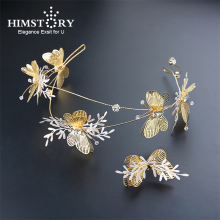 HIMSTORY 2018 New European Gold Butterfly Wedding Hair Tiaras with Rings Brides Hairbands Accessories