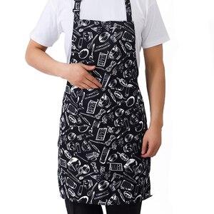 Image 3 - מטבח יוניסקס סינרי מתכוונן שחור פס סינר סינר עם 2 כיסים שף מטבח לבשל כלי לגבר אישה