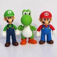 3pcs Lot 12cm BOHS Super Mario Bros Mario Yoshi Luigi PVC Action Figure Collection Model Toys