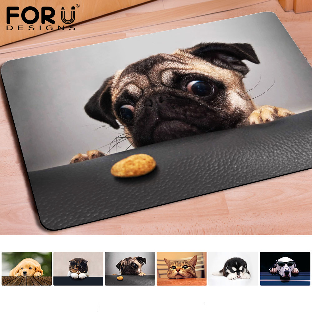 Rubber floor mats for dogs - 40 60cm Non Slip 3d Printed Doormats Adorable Huskies Printing Rubber Door Mat For