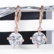 NoEnName Vintage Crystal Drop Earrings for Women 14K Rose Gold Amethyst Valentine Gift Sapphire Bizuteria Diamont Ruby