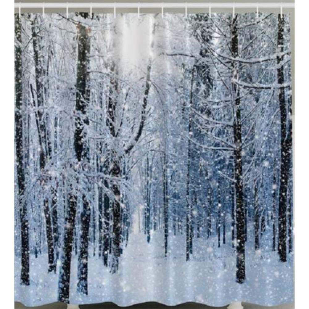 Winter shower curtain - Snow Flake Forest Tree Fabric Bathroom Shower Curtain White Winter Free Shipping China Mainland