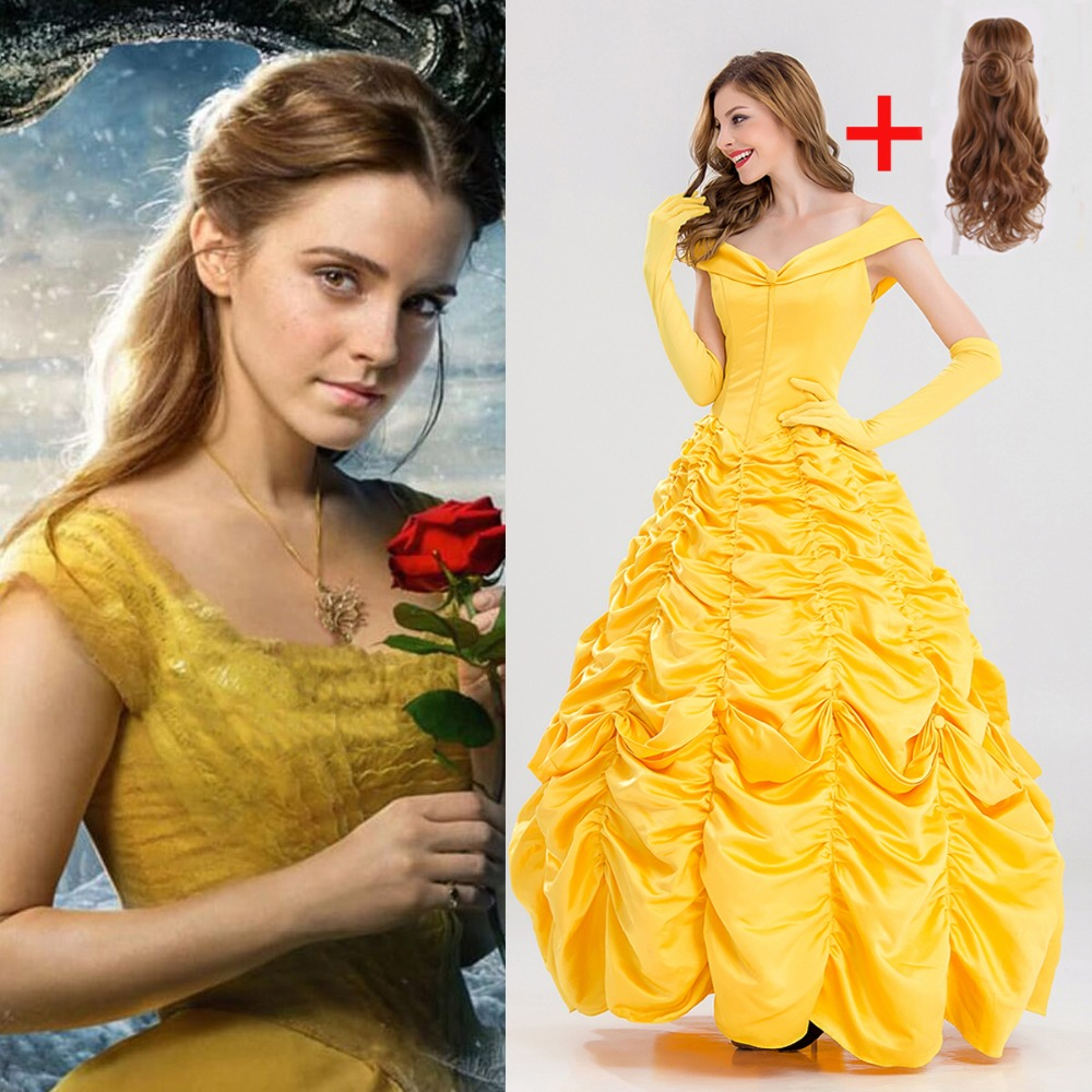High Quality Beauty And Beast Belle Dress Adult Princess Belle Cosplay Costume Fancy Princess Dress OR Wigs Costume Long Dresses