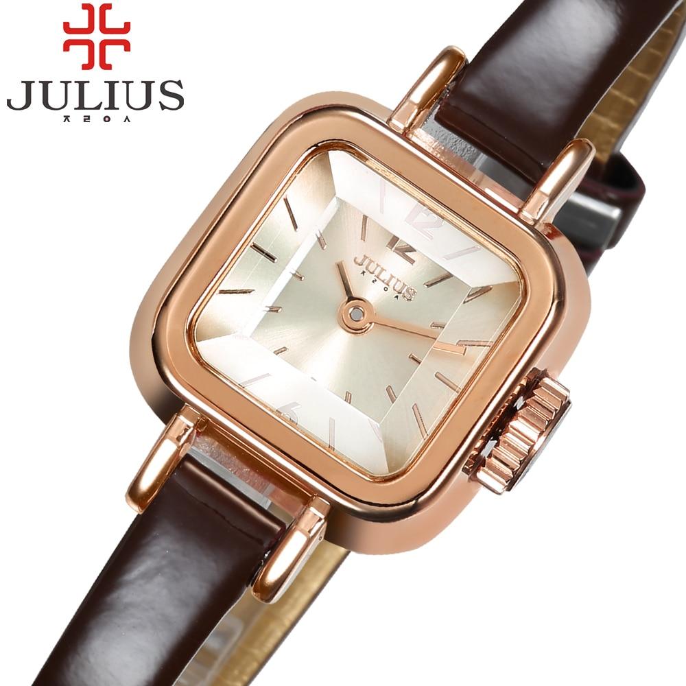 2017 Unique Square Dial Small Ladies Watch Julius Barnd Thin Leather Strap Luxury Women Girl Quartz Wristwatch Montre Femme Gift