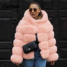 Genuo 2018 New Winter Coat Women Faux Fox Fur Coat Plus Size Women Warm Long Sleeve Faux Fur Jacket Hooded Fur Coat Overcoats zip up camo faux fur hooded coat