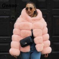 Genuo 2018 New Winter Coat Women Faux Fox Fur Coat Plus Size Women Warm Long Sleeve Faux Fur Jacket Hooded Fur Coat Overcoats