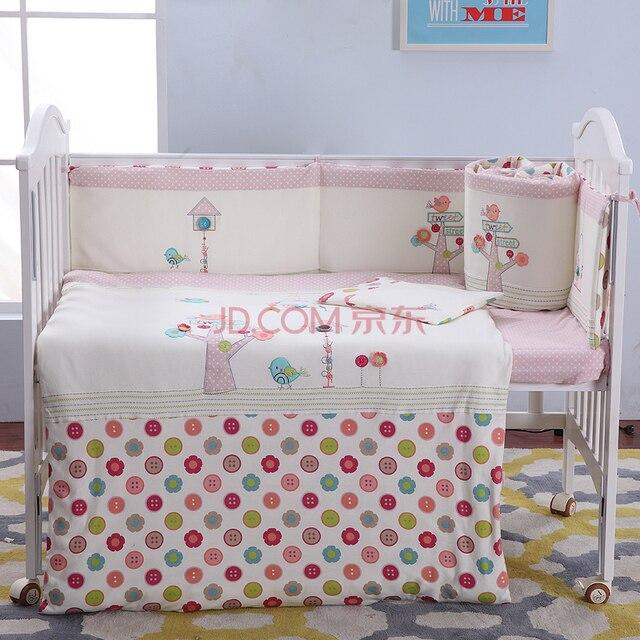 100 baumwolle stickerei vogel baum blumen rosa m dchen baby bettw sche set quilt kissen. Black Bedroom Furniture Sets. Home Design Ideas