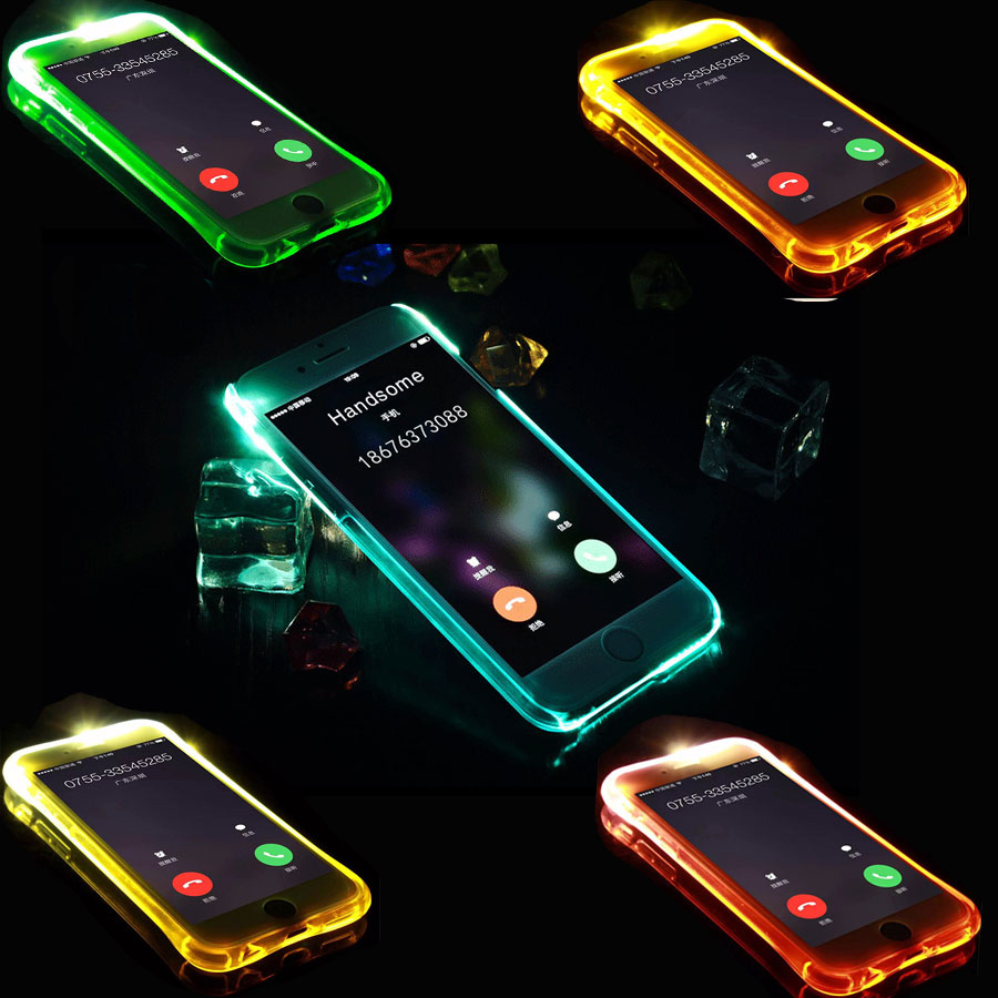 new styles 58190 582ec Phone Back Case Fundas For iPhone 5 5S SE 6 6S 7 Plus Cover Anti-Knock Soft  TPU LED Flash Light Up Remind Incoming Call Cases