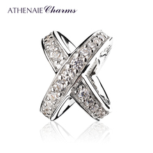 ATHENAIE 925 Sterling Silver with Clear CZ Galaxy Cross Ring Bead Charms for Women Charms Bracelet fit ValentineDay Girl Gifts