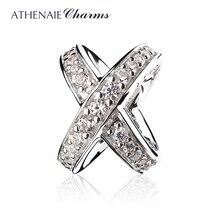 خاتم من ATHENAIE مصنوع من الفضة الإسترليني عيار 925 ومرصع بحجر الزركونيا الشفاف ومرصع بالخرز للسيدات سوار مزين بالخرز يصلح كهدية للبنات في عيد الحب