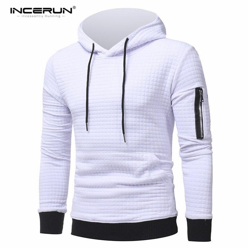INCERUN Hoodies Men 2018 Brand Male Long Sleeve Solid Color Hooded Sweatshirt Mens Hoodie Tracksuit Sweat Coat Casual Warm Hoody