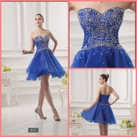 2019 free shipping blue short a line beading crystals elegant prom dress strapless with sweetheart neckline petite prom gowns