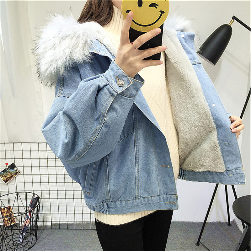 HTB1ALQaXLQypeRjt bXq6yZuXXam Elexs velvet thick denim jacket female winter big fur collar Korean locomotive lamb coat female student short coat 72510