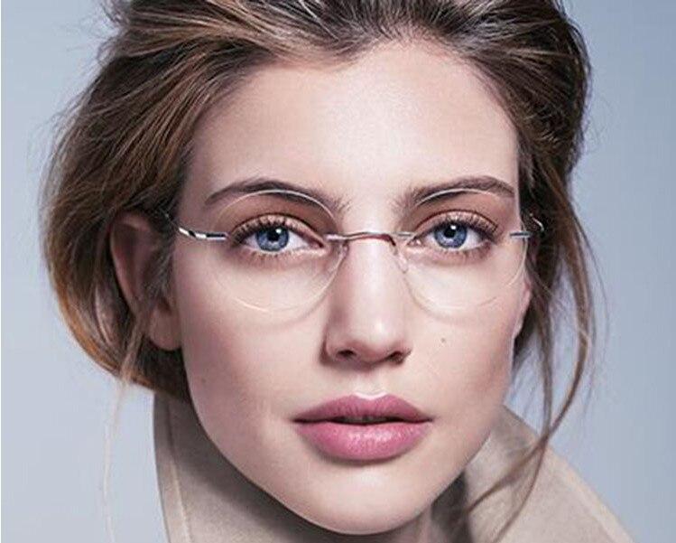 Gafas de lectura sin montura de titanio para mujer ultra ligeras gafas de lectura sin montura de aleación + 1,00 a + 4,00