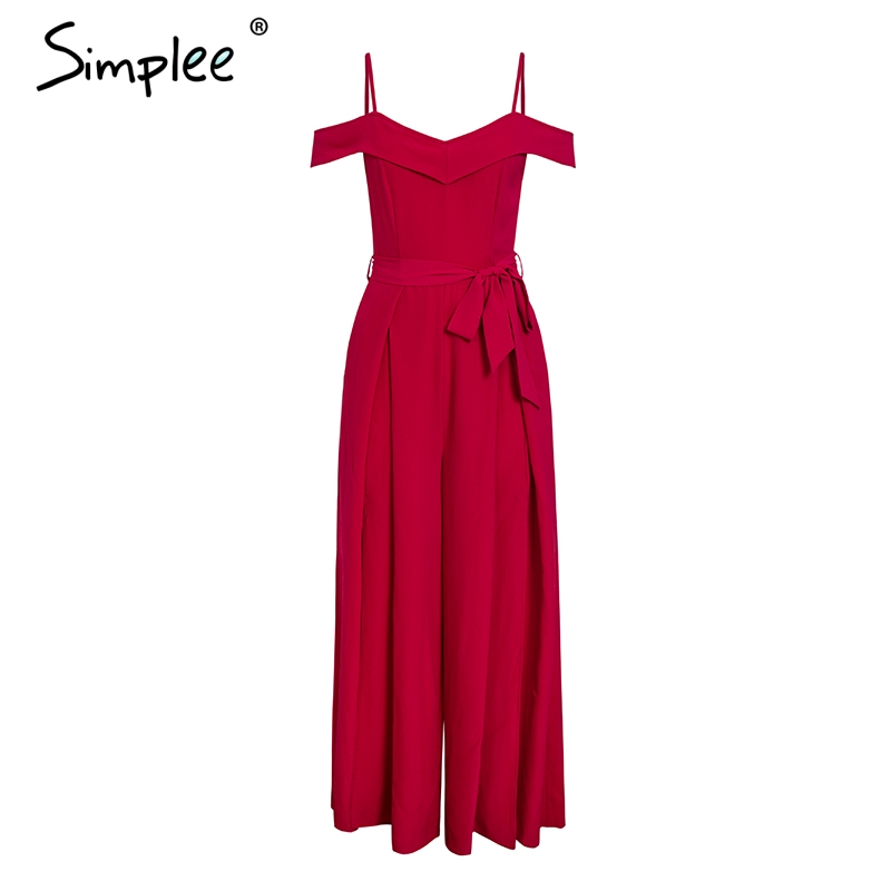 HTB1ALQawMHqK1RjSZFkq6x.WFXaE - Simplee Sexy off shoulder women jumpsuit romper Elegant high waist red jumpsuit long Summer wide leg lady playsuit overalls
