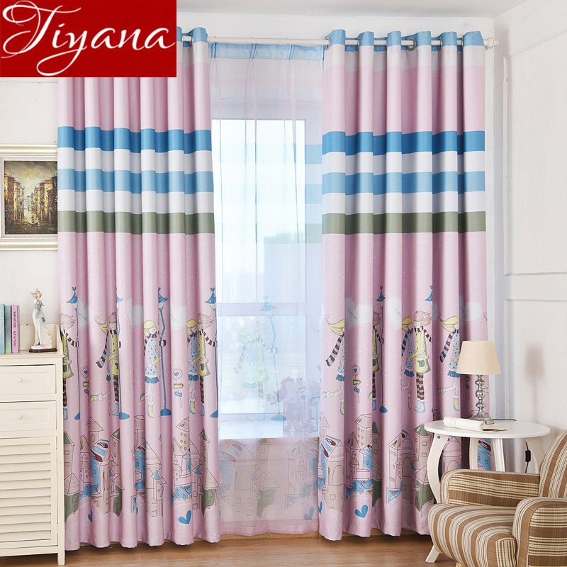 Simple Bedroom Curtains aliexpress : buy cartoon girls boys curtains printed voile