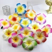 20 шт разноцветных пена Гавайский цветок Плюмерия цветок жасмина Свадебные зажимы для волос 6 см