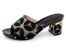 D4-black Freies Verschiffen afrikanische Mode Schuhe für Frauen, mit vielen Steinen und Italien Schuhe