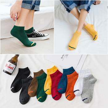 Couple socks spring new casual wild men and women boat socks breathable shallow mouth short socks neutral cotton socks spring and summer flamingo and fox series woman cotton lovely socks painting lady female boat socks short ankle women socks