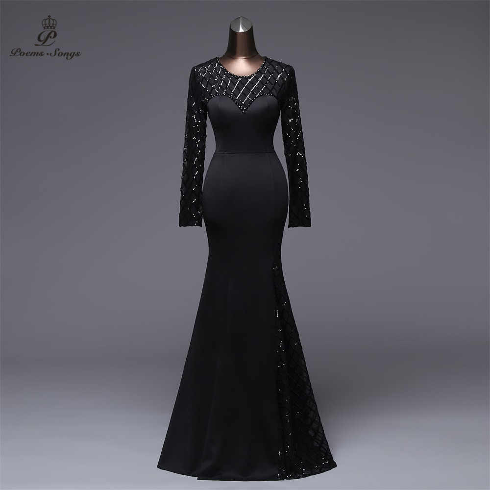 Poems Songs Long sleeves Mermaid   Evening     Dress   prom gowns Formal Party   dress   vestido de festa Elegant Vintage robe longue