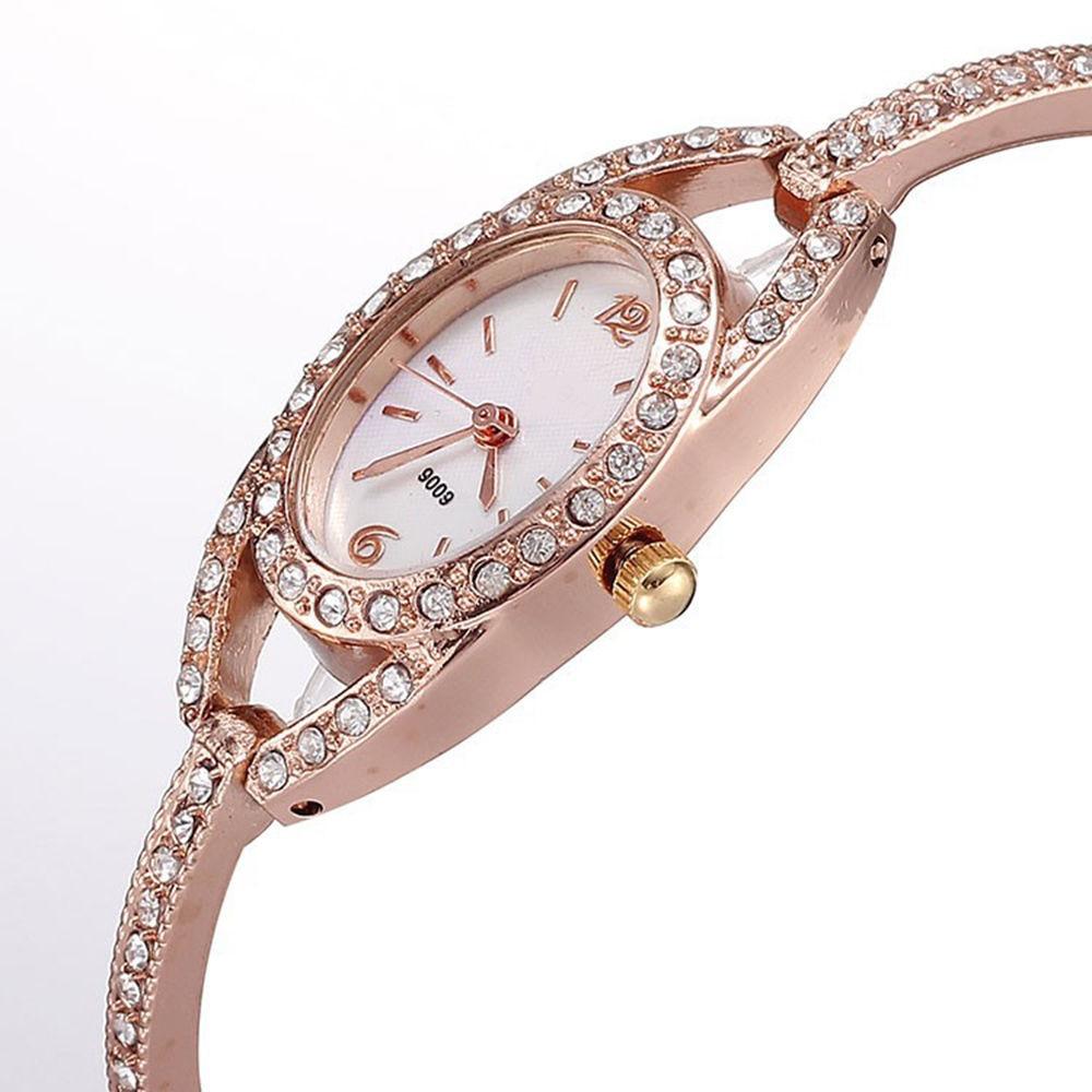 2017 Lady Quartz Alloy Pulksteņi Full Crystal Diamonds Rose Gold Sieviešu rokassprādze