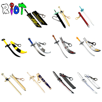 The Legend of Zelda Sword Art overwatch LOL series keychain Swords and sheaths sets Two pieces weapons model charms Collection earrings