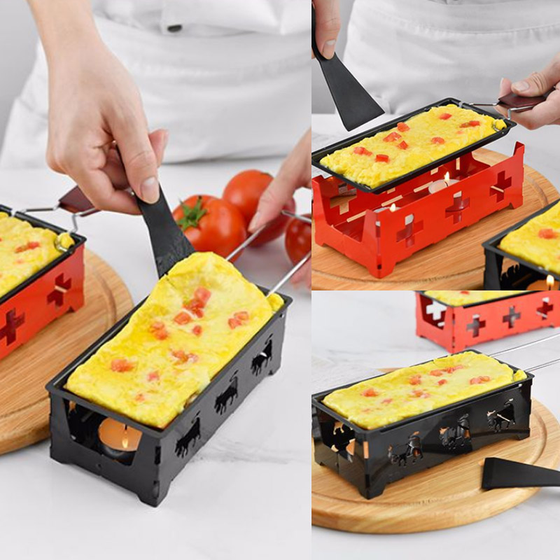 1Set Milk Cheese Portable Non-Stick Metal Cheese Raclette Oven Grill Plate Baking Tray Stove Set Kitchen Baking Tool image