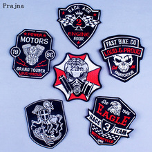 Prajna Rock Stripe Patches Punk Iron on Patch For Clothing Badge Embroidered Sewing Applique On Cloth DIY HOOK&LOOP Accessory F