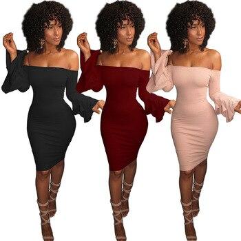 39b675149bb 2019 осенние платья халат сексуальное с открытыми плечами тонкое облегающее  платье с расклешенными рукавами Черное розовое
